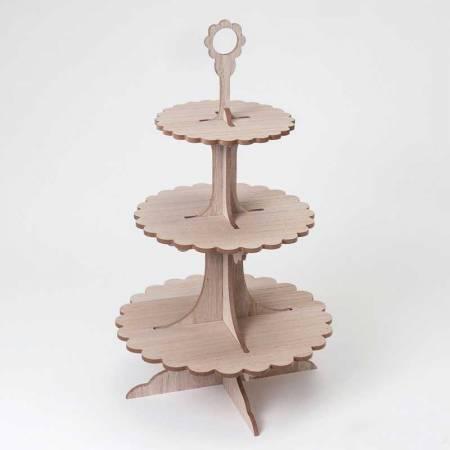 Expositor de madera con 3 pisos para cupcakes y dulces, color madera