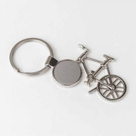 Llavero con forma de bicicleta en metal, personalizable por grabación