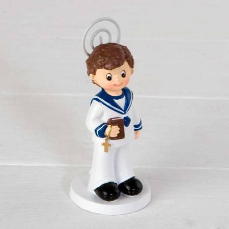 Clip portafotos para Comunión, niño vestido de marinero, con biblia y cruz en la mano.