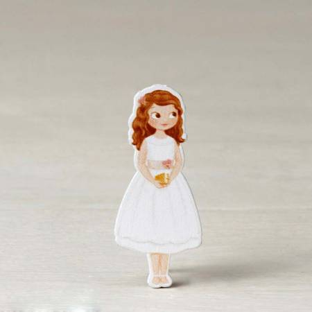 Figura adhesiva niña Comunión con vestido corto 5,5 cm