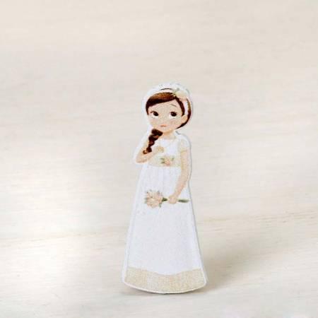 Figura adhesiva niña, para personalizar los detalles de Comunión, romántica