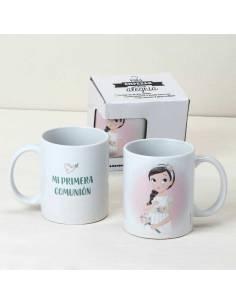 Taza de cerámica para Comunión con niña romántica