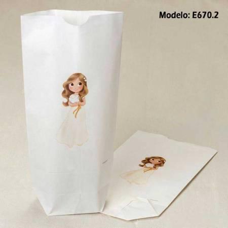 Bolsa de papel, con dibujo niña, para comunión