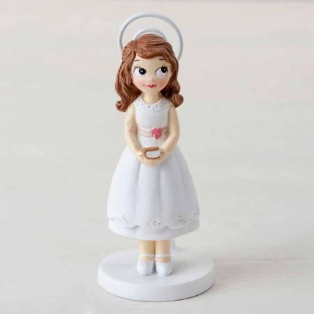 Portafotos de resina con clip niña con biblia, recuerdo para Comunión
