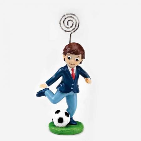 Bonito portafotos con clip para recuerdo de comunión, niño fútbol