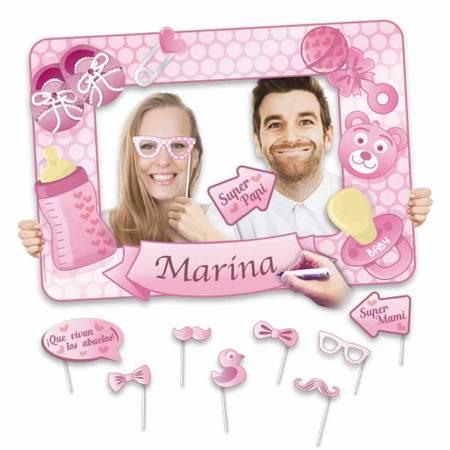 Marco para photocall de color rosa, para bautizo de niña