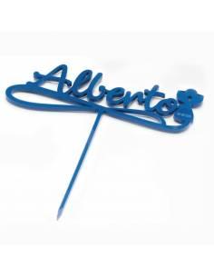 Cake topper Cáliz metacrilato azul, personalizado con el nombre y fecha. Para la tarta de comunión