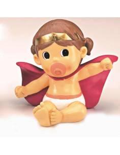 Figura para la decoración de la tarta bebé superheroína, también es hucha