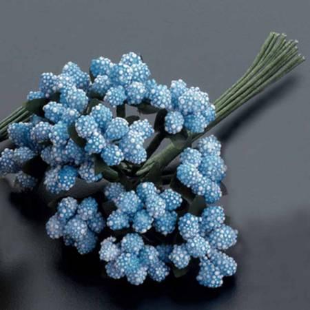 Pomo bolitas, flores en azul