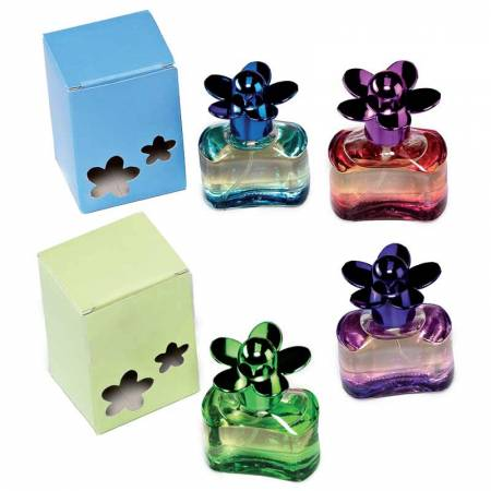 Perfume en frasco de cristal margarita. Recuerdo para invitadas