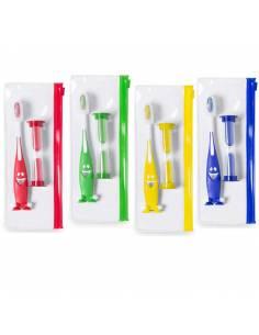 Cepillo de dientes infantil y reloj de Arena en bolsa individual