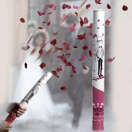 Cañón pétalos de rosa de 50 cm. Perfento para eventos y bodas