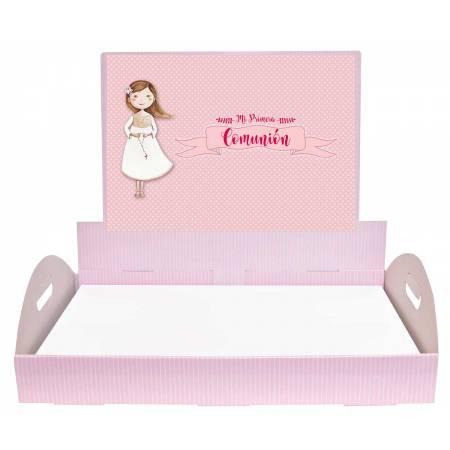 Bandeja para los detalles de comunión. Bandeja rosa personalizada.