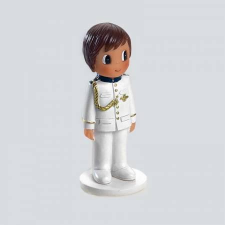 Figura niño Comunión traje coronel blanco. 7 cm.