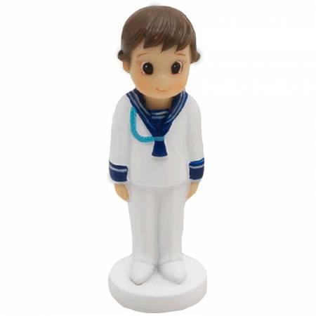 Figura en resina, niño Comunión marinero con cordón azul, ancla.