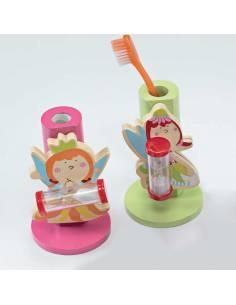 Porta cepillo de dientes en madera hada con reloj de arena