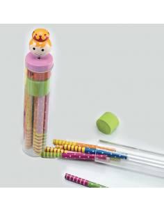 Tubo con 6 lápices colores niña en el tapón en madera y sacapuntas