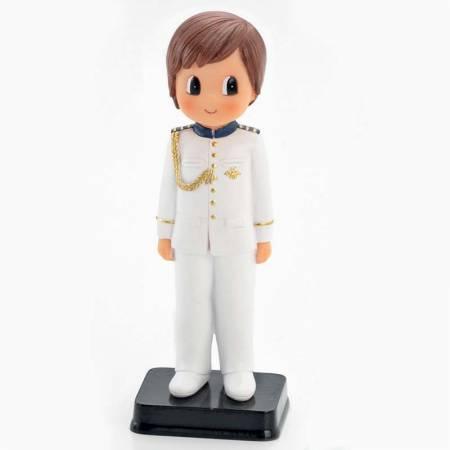 Muñeco para la tarta Primera Comunión niño traje blanco con adornos dorados