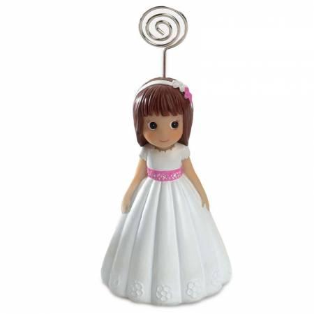 Figura niña comunión con fajín rosa, sujeta notas. Recuerdo Comunión