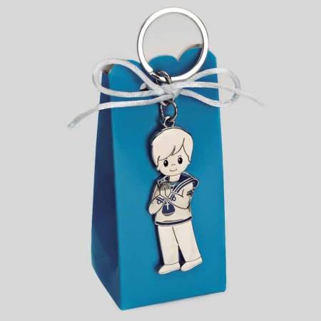 Llavero niño Comunión de marinero en caja semi alta con peladillas.
