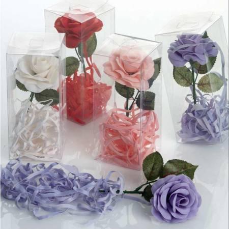 Flor de jabón con tiras de jabón, presentada en caja de acetato transparente