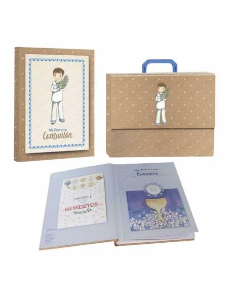 Libro de firmas Mi Primera Comunión con maletín, niño vestido de marinero con rama de olivo