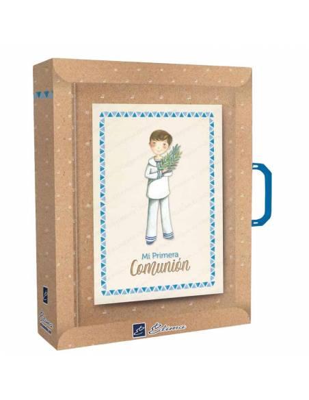 Presentación del libro para firmas con maletín, niño marinero con rama de olivo