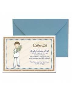 Invitación Primera Comunión más sobre azul, niño de marinero con rama de olivo