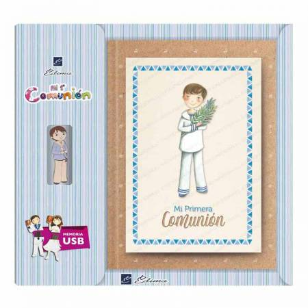 Presentación del libro para firmas Primera Comunión con USB, Niño marinero con rama de olivo