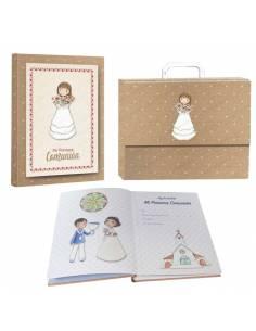 """Libro de firmas """"Mi Primera Comunión"""" con maletín, niña con ramo de flores"""