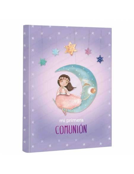 Libro de firmas para comunión, niña sentada en la luna. Medidas:  22 x 30 cm.