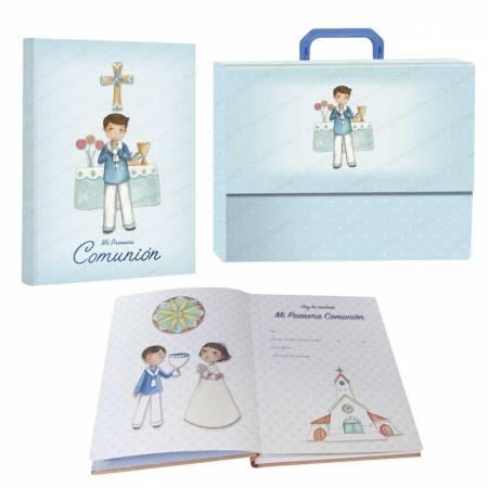 """Libro de firmas """"Mi Primera Comunión"""" con maletín, niño en el altar"""
