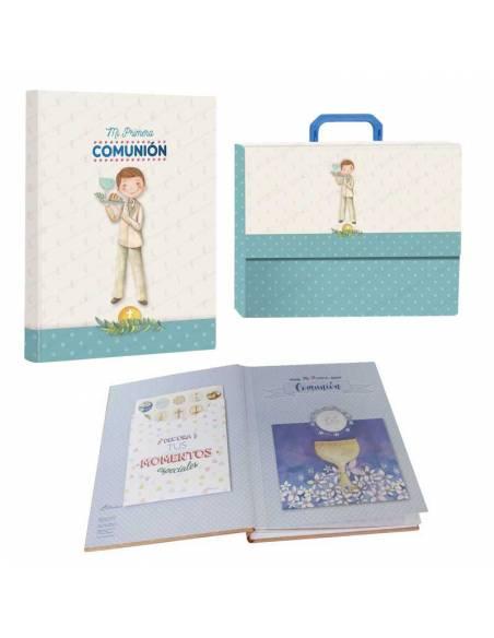 """Libro de firmas """"Mi Primera Comunión"""" con maletín, niño con bandeja"""