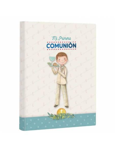 Libro firmas para comunión, niño con bandeja. Medida: 22 x 30 cm.