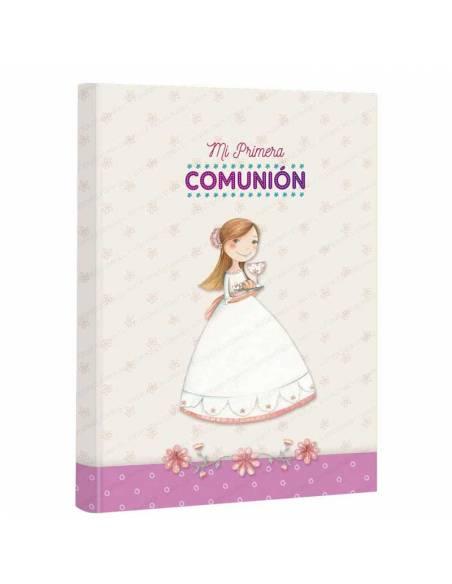 Libro de firmas para comunión, niña con bandeja. Medida: 22 x 30 cm.