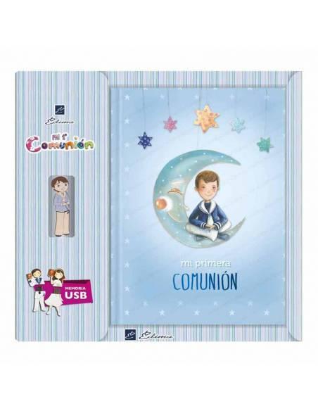 Libro para Primera Comunión con USB, Niño marinero sentado en la luna