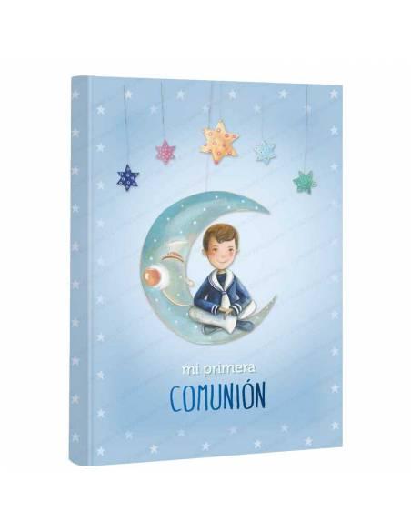 Libro de firmas niño en la luna para comunión. 60 páginas a todo color.