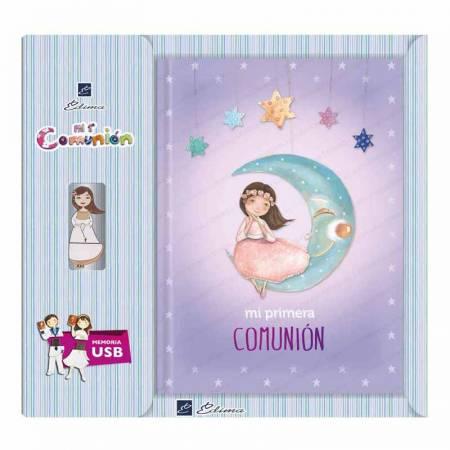 Libro para Primera Comunión con USB, decorado con una elegante niña en la luna
