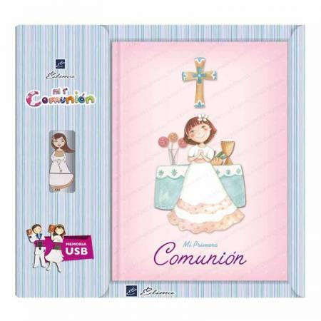 Libro para Primera Comunión con USB, Niña sonriente en el altar