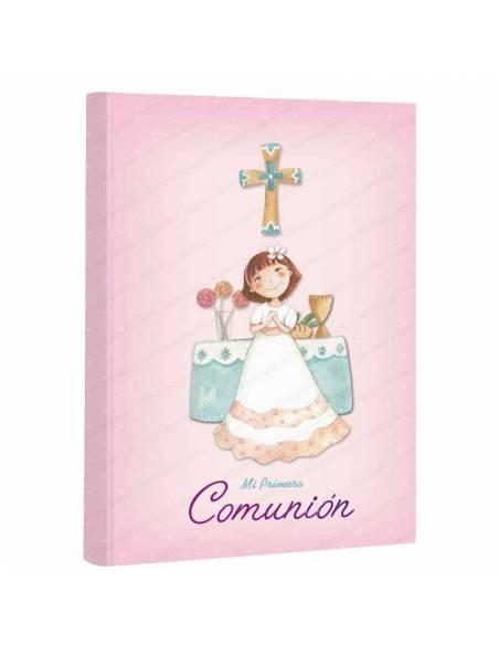 Libro para firmas comunión, niña sonriendo en el altar. 60 páginas a todo color