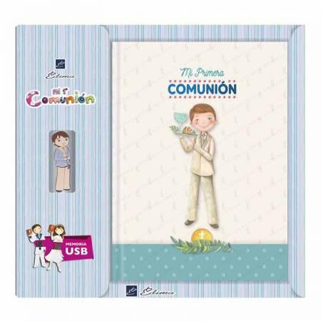 Libro para Primera Comunión con USB, niño comunión con bandeja con un calíz y el pan