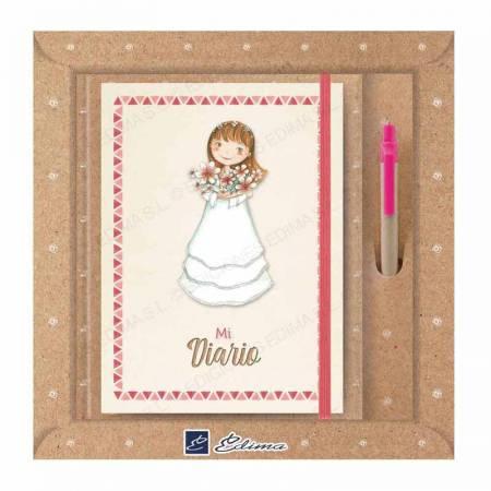 Pack diario Primera Comunión + bolígrafo Natur line. Niña con ramo de flores