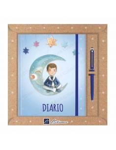 Pack diario Primera Comunión + bolígrafo Natur line. Marinero sentado en la luna