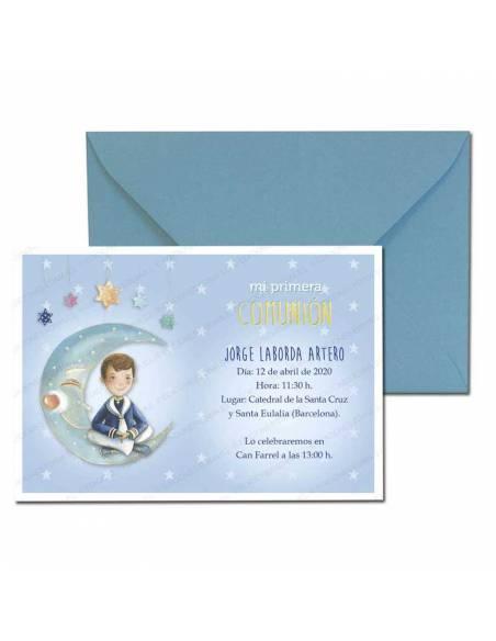 Invitación Primera Comunión más sobre azul, niño de marinero en la luna