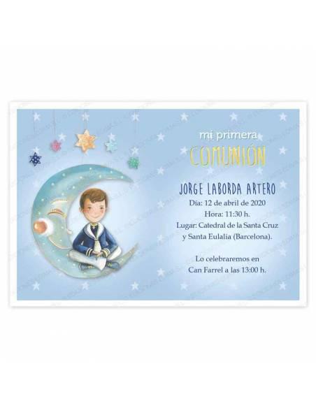 Invitación niño Primera Comunión, decorada con un elegante marinero sentado en la luna
