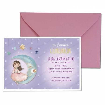 Invitación Primera Comunión más sobre rosa, niña en la luna