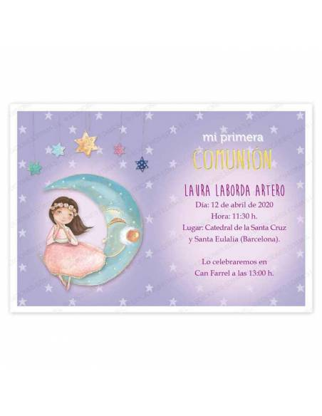 Invitación para Primera Comunión niña con vestido rosa en la luna