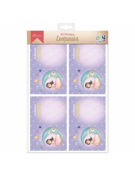 Pack con 20 invitaciones y sobres rosas para Primera Comunión, niña sentada en la luna