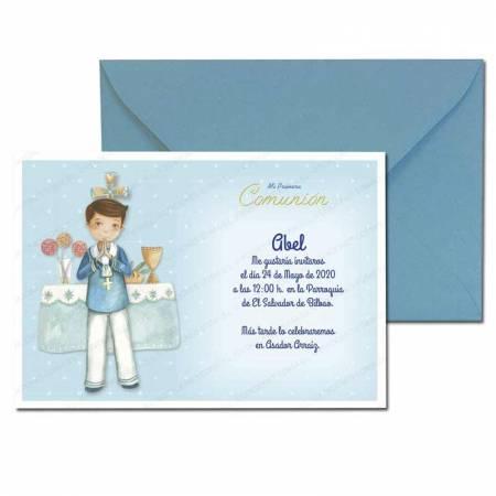 Invitación Primera Comunión más sobre azul, elegante marinero en el altar