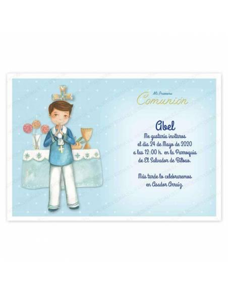 Invitación niño Primera Comunión, decorada con un elegante marinero en el altar